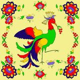 Vector pattern with colorful flowers and Fire-bird. On yellow background Royalty Free Stock Images
