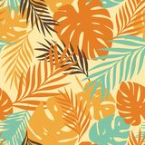 Vector pattern with tropical leaves Stock Photo