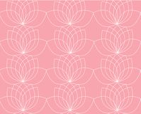Vector pattern with contour of water lilies or lotos on the pink background stock illustration