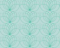 Vector pattern with contour of water lilies or lotos stock illustration