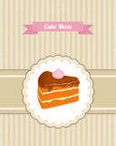 Vector pattern cover the desserts menu for cafe with a slice of chocolate cake Royalty Free Stock Images