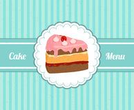 Vector pattern cover the desserts menu for cafe with a slice of delicious cake. Royalty Free Stock Photos
