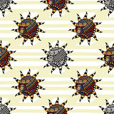 Vector pattern with creative ethnic suns Stock Image