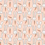 Vector Pattern With Cute Bunnies And Carrots. Vector Illustration royalty free illustration