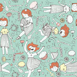 Vector pattern with cute girl princess, musical instruments. flowers, note, stars and hearts. Colorful illustration, hand drawn, g Royalty Free Stock Photos
