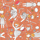 Vector pattern with cute girl princess, musical instruments. Royalty Free Stock Photo