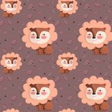 Vector pattern with cute lion on pink background and oak leaves Royalty Free Stock Photo