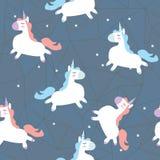 Vector pattern with cute unicorns. stock illustration