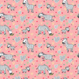 Vector pattern with cute zebras on a pink background. Royalty Free Stock Photo