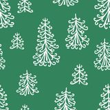 Pattern of the frozen christmas trees Stock Photo