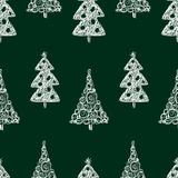 Seamless background of drawn christmas trees. Vector pattern of decorative christmas trees vector illustration
