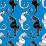 Vector pattern of the decorative sea horses Royalty Free Stock Photo