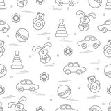 Vector pattern of different toys: car, pyramid, roly-poly, ball,. Hare, rattle. Design element for postcard, banner, flyer, poster or print Stock Images
