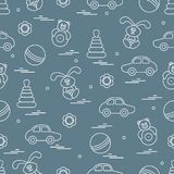 Vector pattern of different toys: car, pyramid, roly-poly, ball,. Hare, rattle. Design element for postcard, banner, flyer, poster or print Stock Photo