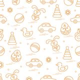 Vector pattern of different toys: car, pyramid, roly-poly, ball,. Hare, rattle, duck, penguin. Design element for postcard, banner, flyer, poster or print Royalty Free Stock Images