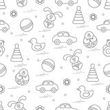 Vector pattern of different toys: car, pyramid, roly-poly, ball,. Hare, rattle, duck, penguin. Design element for postcard, banner, flyer, poster or print Stock Photos