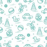 Vector pattern of different toys: car, pyramid, roly-poly, ball,. Hare, rattle, duck, penguin. Design element for postcard, banner, flyer, poster or print Royalty Free Stock Photography
