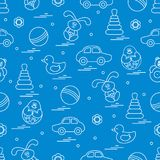 Vector pattern of different toys: car, pyramid, roly-poly, ball,. Hare, rattle, duck, penguin. Design element for postcard, banner, flyer, poster or print vector illustration