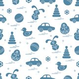 Vector pattern of different toys: car, pyramid, roly-poly, ball,. Hare, rattle, duck, penguin. Design element for postcard, banner, flyer, poster or print royalty free illustration