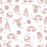Vector pattern of different toys: car, pyramid, roly-poly, ball,. Hare, rattle. Design element for postcard, banner, flyer, poster or print Stock Photography