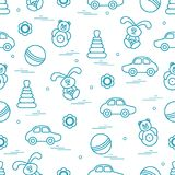 Vector pattern of different toys: car, pyramid, roly-poly, ball,. Hare, rattle. Design element for postcard, banner, flyer, poster or print Royalty Free Stock Photos