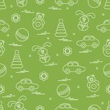 Vector pattern of different toys: car, pyramid, roly-poly, ball,. Hare, rattle. Design element for postcard, banner, flyer, poster or print Stock Photos