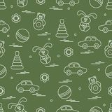 Vector pattern of different toys: car, pyramid, roly-poly, ball,. Hare, rattle. Design element for postcard, banner, flyer, poster or print Royalty Free Stock Image