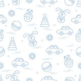 Vector pattern of different toys: car, pyramid, roly-poly, ball,. Hare, rattle. Design element for postcard, banner, flyer, poster or print Royalty Free Stock Photography