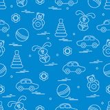 Vector pattern of different toys: car, pyramid, roly-poly, ball,. Hare, rattle. Design element for postcard, banner, flyer, poster or print stock illustration