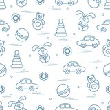 Vector pattern of different toys: car, pyramid, roly-poly, ball,. Hare, rattle. Design element for postcard, banner, flyer, poster or print royalty free illustration