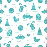 Vector pattern of different toys: car, pyramid, roly-poly, ball,. Hare, rattle, duck, penguin. Design element for postcard, banner, flyer, poster or print stock illustration