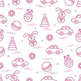 Vector pattern of different toys: car, pyramid, roly-poly, ball,. Hare, rattle. Design element for postcard, banner, flyer, poster or print vector illustration