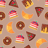 Vector pattern with donuts, cakes, waffles, croissants Stock Images