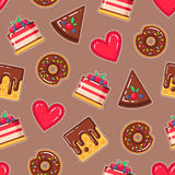 Vector pattern with donuts, cakes, waffles and hearts Royalty Free Stock Photos