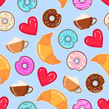 Vector pattern of donuts, cappuccino cups, croissants and red hearts. Funny vector pattern of donuts, cappuccino cups, croissants and red hearts on blue Royalty Free Stock Photos