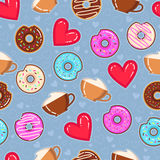 Vector pattern of donuts, cappuccino cups and red hearts. Funny vector pattern of donuts, cappuccino cups and red hearts on blue background Stock Photography