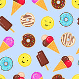 Vector pattern of donuts and ice creams Stock Photos