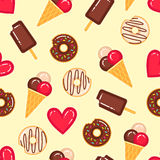 Vector pattern of donuts, ice creams and red hearts Stock Image