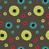 vector pattern Doodle flowers circles. stock illustration