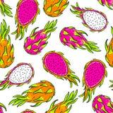 Vector pattern, dragon fruit. Royalty Free Stock Photos