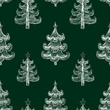 Vector pattern of drawn christmas trees. Seamless background of abstract christmas trees royalty free illustration
