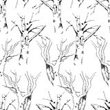 Seamless background of the trees sketches Stock Image