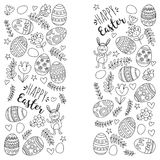 Vector pattern for Easter Eggs, flowers, bunny Happy easter pattern Coloring page. Pattern for Easter Eggs, flowers, bunny Happy easter pattern Stock Image