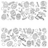 Vector pattern for Easter Eggs, flowers, bunny Happy easter pattern Coloring page. Pattern for Easter Eggs, flowers, bunny Happy easter pattern Stock Photography