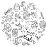 Vector pattern for Easter Eggs, flowers, bunny Happy easter pattern Coloring page. Pattern for Easter Eggs, flowers, bunny Happy easter pattern Royalty Free Stock Photos