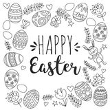 Vector pattern for Easter Eggs, flowers, bunny Happy easter pattern Coloring page. Pattern for Easter Eggs, flowers, bunny Happy easter pattern Stock Images
