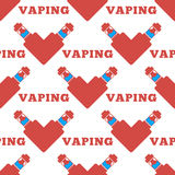 Vector pattern of the electronic cigarette in shape  heart Stock Photos