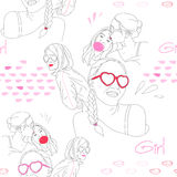 Vector pattern: fashion girls Stock Photos