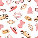 Vector pattern of fashion objects and trendy accessories Stock Photography
