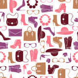 Vector pattern of fashion objects and trendy accessories. Vector seamless of fashion objects and trendy accessories Royalty Free Stock Images